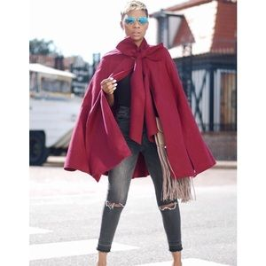 🆕Gorgeous red fall tie neck cape coat